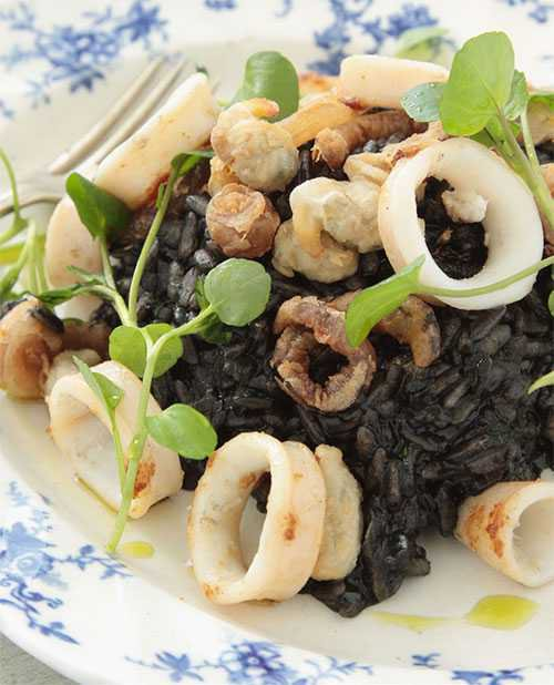 Squid Ink Risotto, Cuttlefish, Crispy Cockles